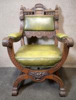 Late Victorian Carved Oak & Leather Armchair (14 of 14)