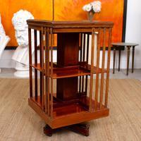 Edwardian Revolving Bookcase Inlaid Mahogany (3 of 6)