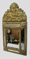Small 19th Century French Repoussé Brass Cushion Mirror (4 of 7)