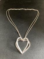 """Danish Silver Heart Pendant on """"double"""" Chain. 1960s (5 of 5)"""