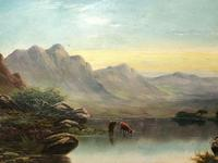 Victorian 19th Century Oil Painting Scottish Highlands Loch Cattle Drinking (3 of 12)