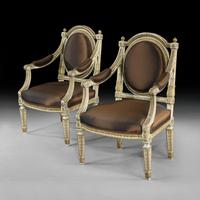 Extremely Fine & Decorative Set of Four 19th Century Italian Painted And Parcel Gilt Armchairs of Neo-Classical Design (7 of 7)