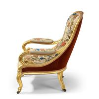 Pair of High Victorian Giltwood & Needlework Armchairs by Gillows (3 of 15)