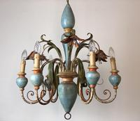 Large Vintage French 6 Arm Polychrome Toleware Ceiling Light Chandelier (8 of 16)