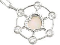 2.47ct Opal & 5.34ct Diamond, Platinum Pendant c.1940 (6 of 12)