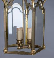 Large French Brass & Glass Hall Lantern (3 of 4)