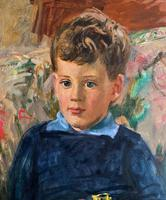'Boy with Toy' Thomas Sherwood La Fontaine Superb Oil Portrait Painting (3 of 13)