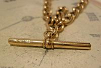 Victorian Pocket Watch Chain 1890s Antique 18ct Rose Rolled Gold Albert With T Bar (9 of 10)