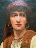 Fine Original 19th Century Antique Portrait Oil Painting of a Stunning Young Gypsy Girl (8 of 11)