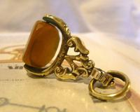 Antique Pocket Watch Chain Fob 1870s Victorian Huge Brass & Amber Stone Swivel Fob (10 of 10)