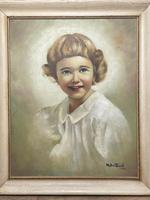 """20th Century Oil Painting Portrait Girl With Curly Hair """"The Happy Smile"""" (2 of 19)"""
