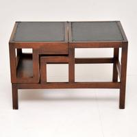 Antique Mahogany & Leather Folding Library Steps / Coffee Table (3 of 11)