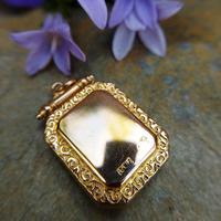 Antique Victorian 9ct Gold & Aquamarine Rectangular Locket Pendant (5 of 9)