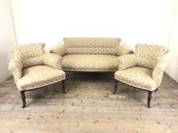 Victorian Three Piece Suite with Gold Floral Upholstery