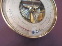 Antique Bronze Cased Twin Thermometer Marine Barometer (3 of 5)