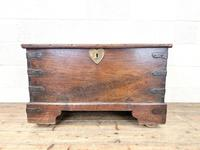 Antique Mahogany Metal Bound Trunk with Wheels (2 of 10)