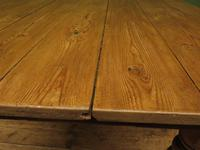 Antique Country Pine Plank Top Table with Drawer, Kitchen Dining Table Seats 4 (7 of 10)
