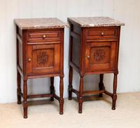 Pair of French Oak Marble Top Bedside Cabinets (9 of 9)