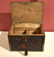 Continental 19th Century Carved Oak Casket Box (3 of 8)