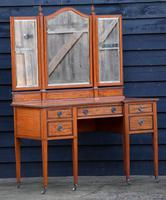 Exceptional Quality Edwardian Satinwood Dressing Table with Mirrors c.1901 (11 of 14)
