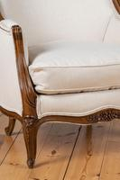 Large French Louis XV Style Walnut Bergere Upholstered Armchair (10 of 11)