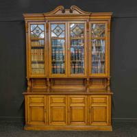 Edwardian Oak Breakfront Bookcase with Open Central Section (3 of 10)