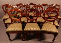 Good Set of 12 Victorian Mahogany Balloon Back Dining Chairs
