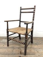 Antique Child's Bobbin Chair with Rush Seat (5 of 10)