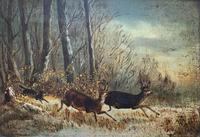 'Chasing The Deer' Beautiful 19th Century Game Hunting Moonlit Landscape Oil Painting (2 of 14)