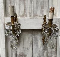 A Pair of French Single Light Gilt Antique Wall-lights