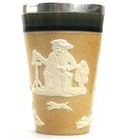 Good Doulton Lambeth Solid Silver Rimmed Salt Glaze Beaker c.1896 (4 of 8)