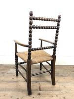 Antique Child's Bobbin Chair with Rush Seat (2 of 10)