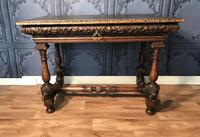 Victorian Carved Oak Library Table (8 of 25)