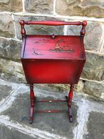 Antique Red Lacquered Chinoiserie Sewing Basket (2 of 10)