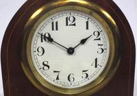 Solid Mahogany Lancet Cased Timepiece Clock with Satinwood Inlaid Decoration (8 of 9)