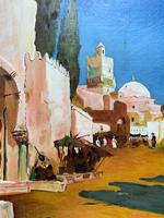Augusta Coles Moroccan Cityscape Oil Painting Mahogany Fire Screen c.1911 (8 of 16)