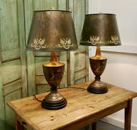 A Pair of Large Bronze Coloured Toleware Table Lamps (9 of 9)