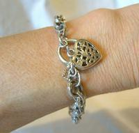 "Vintage Silver Bracelet 1970s Ornate Heart Padlock 7 1/2"" Length 13.3 Grams (11 of 11)"