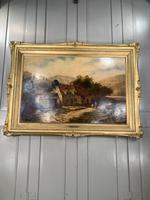 Antique Victorian large landscape oil painting in gilt gesso frame by E Yates (2 of 10)