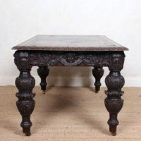 Carved Oak Desk Library Table Gothic Jacobean Large 19th Century (18 of 18)