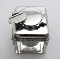 Antique Georgian 1829 Solid Sterling Silver & Glass Travelling Inkwell Ink Pot - 19th Century (10 of 10)
