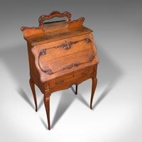 Small Antique Ladies Writing Desk, French, Oak, Bureau, Mirror, Victorian c.1900 (7 of 12)