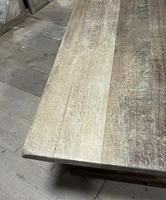 Larger French Bleached Oak Trestle Farmhouse Dining Table (15 of 21)