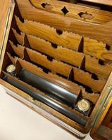 Victorian Burr Walnut Brass Bound Desktop Stationery Cabinet (6 of 15)
