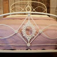 Mid Victorian Cast Iron Antique Bed in Cream (3 of 7)