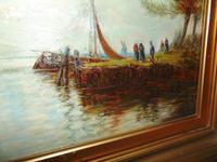 Edwardian oil painting. Harbour scene  1909 (5 of 6)