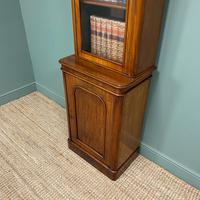 Tall Slim Victorian Mahogany Antique Bookcase on Cupboard (7 of 10)