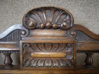 Late Victorian Carved Oak & Leather Armchair (3 of 14)