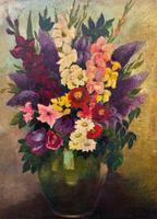Large 19th Century French Farmhouse Impressionist Still Life Floral Oil Painting Signed (6 of 12)