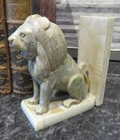 Pair of Onyx Book Ends Sitting Lions on plinth base (2 of 6)